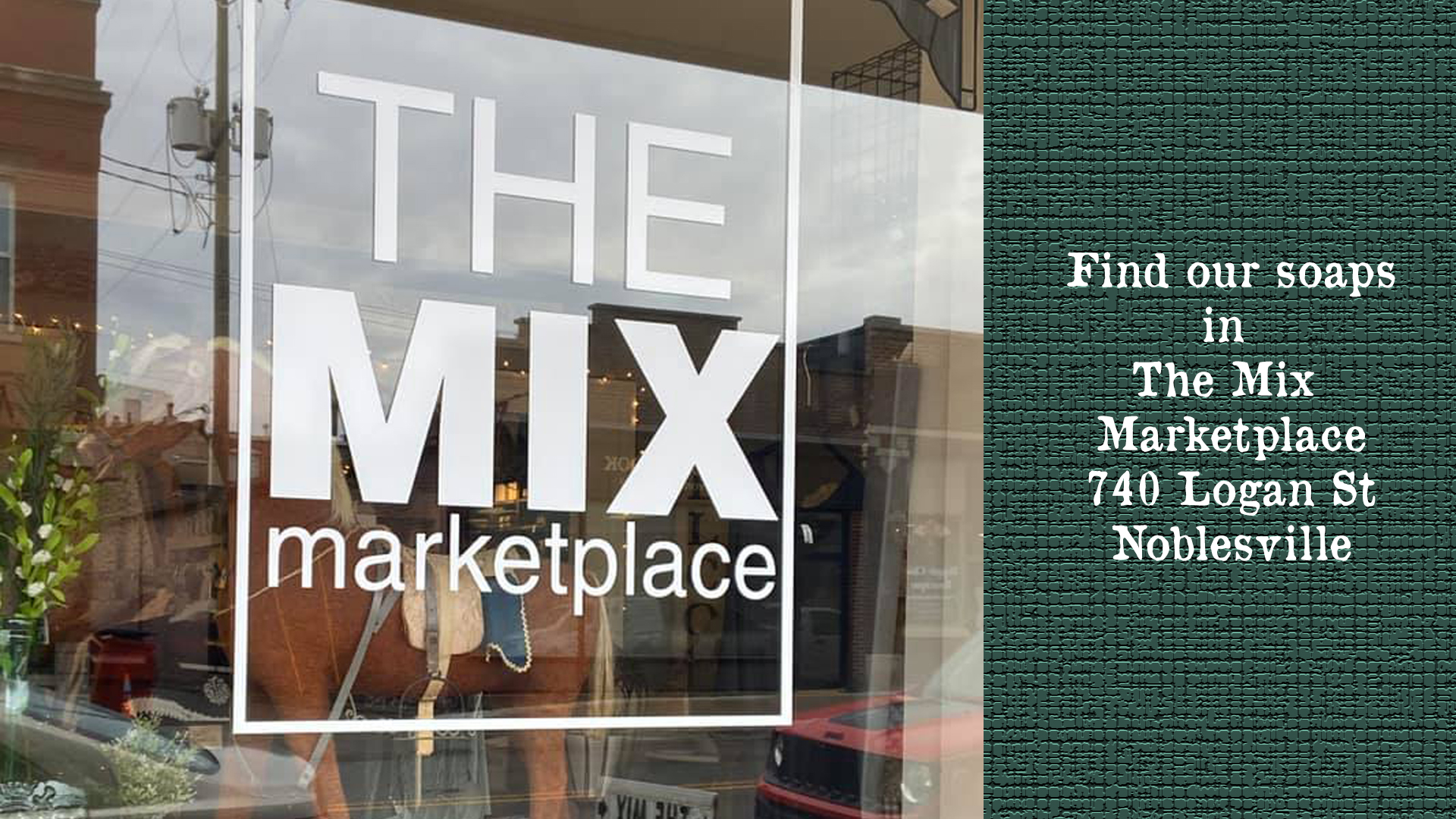 <h2>Find Us at The Mix</h2><div class='slide-content'><p><span class='highlight'>You can find us at The Mix Marketplace </span></p><p><span class='highlight'>located in Noblesville, Indiana.</span></p></div><a href='#' class='btn' title=' '> </a>